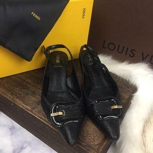 FENDI icon buckle kitten heels eu37